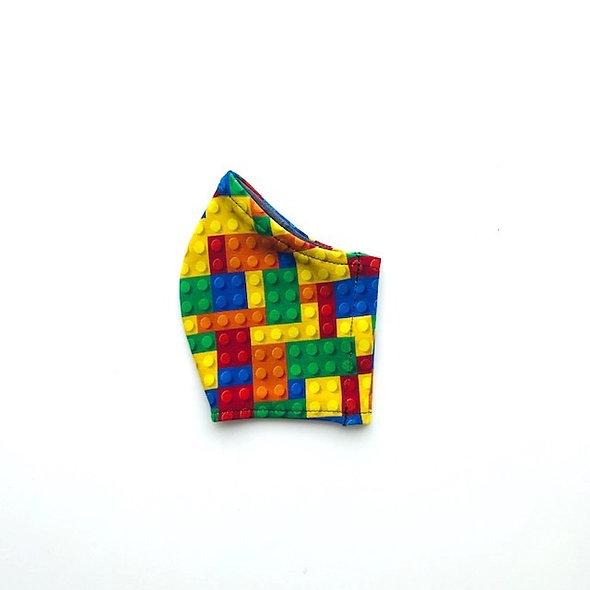 Masque en coton extensible design blocs à jouer