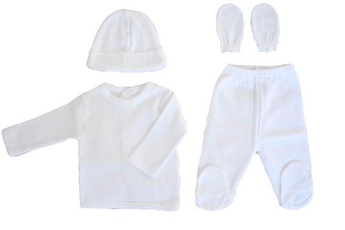 Newborn 4 pieces hospital set- White
