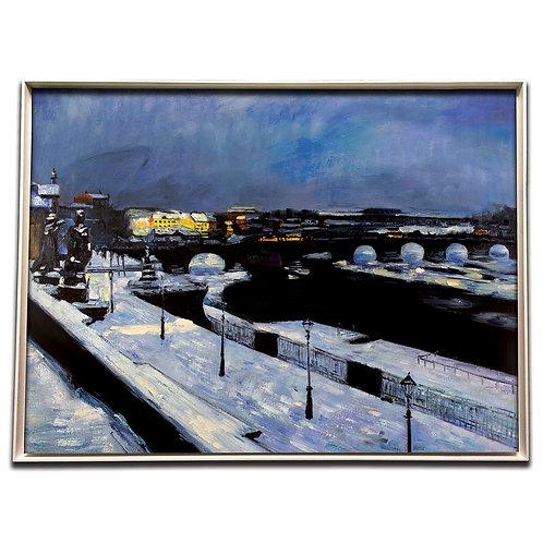 Die Augustusbrücke im Winter