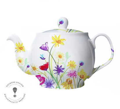 wildflower meadow homeware design illustration available to licence, Jenny Daymond Deign and Illustration