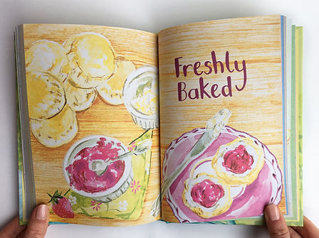national trust book of afternoon tea food illustration an recipe illustration, scones illustration, watercolour food illutration, watecolour illustrate recipe book, Jenny Daymond Design and illustration