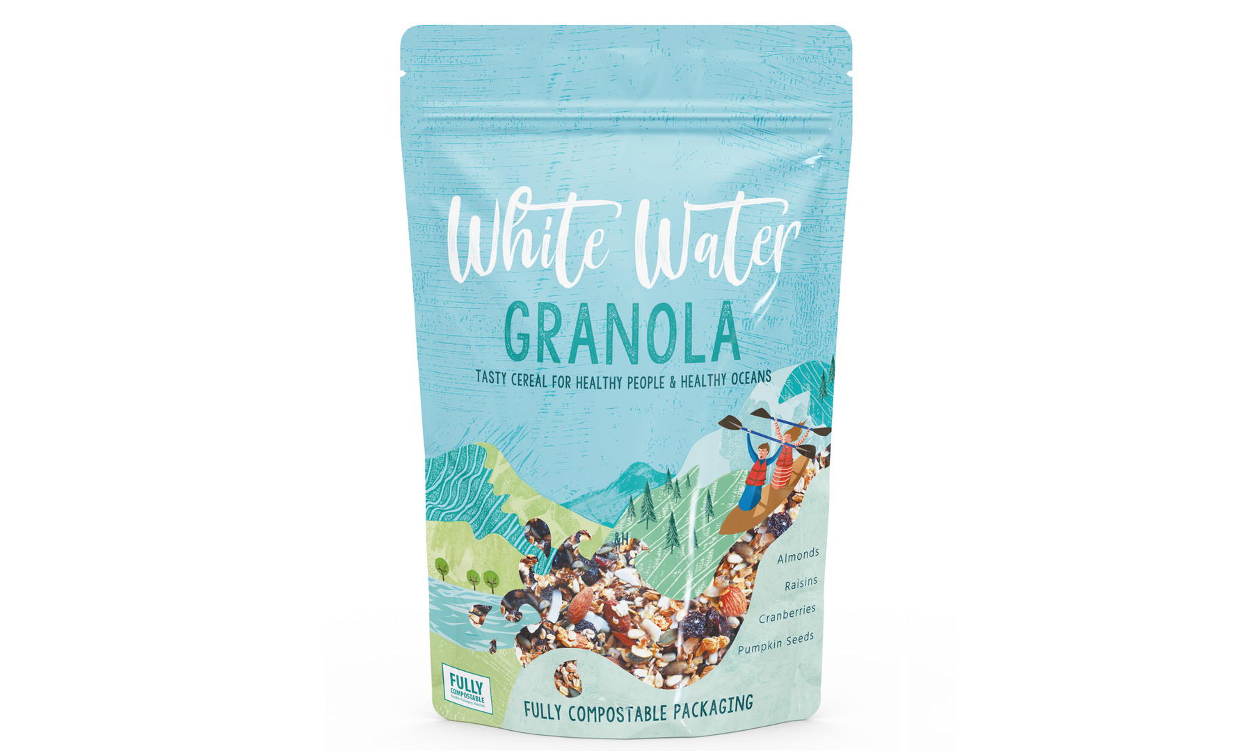 Eco friendly packaging design by Jenny Daymond illustration, waterfall, mountains, children's packaging design