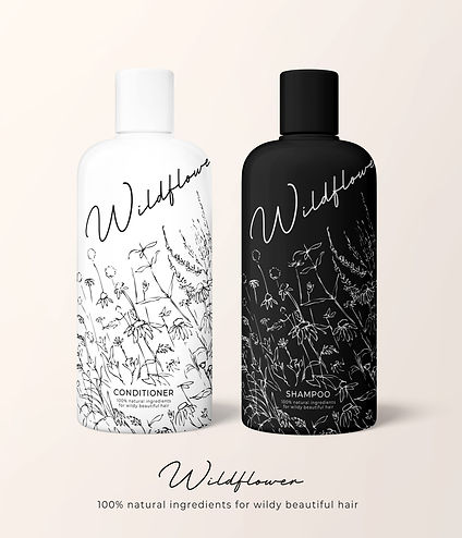 Wildflowe shampoo illutrated packaging deign, luxury cosmetics branding and packging design, fine line countour drawing for pattern for packaging, intricate line drawings for flowers and botanicals and jungle plants, fine line drawing, wiggly line drawin illustration, Jenny Daymond Design and illustraton