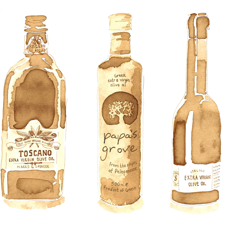 Sepia Olive Oil Food Illustration