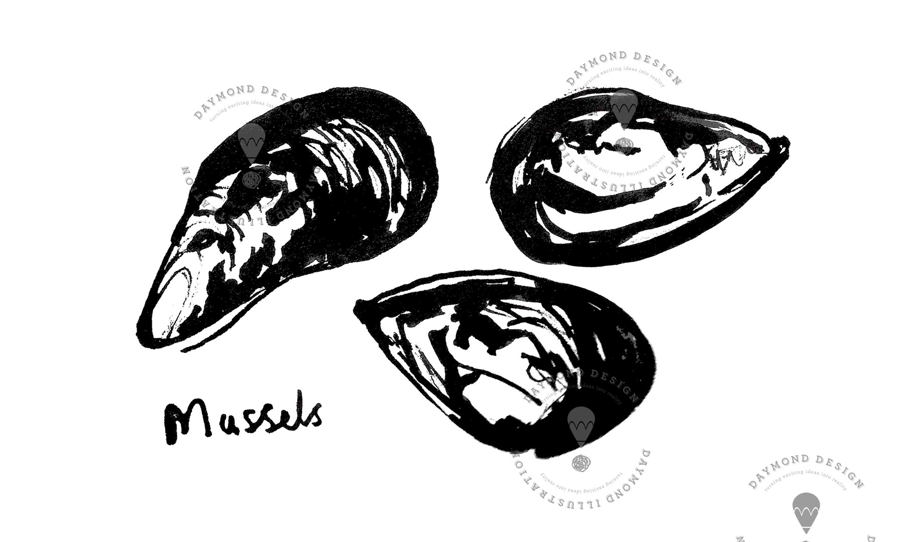 mussels brush ink B&W food illustration of seafood by Jenny Daymond Design and Illustration