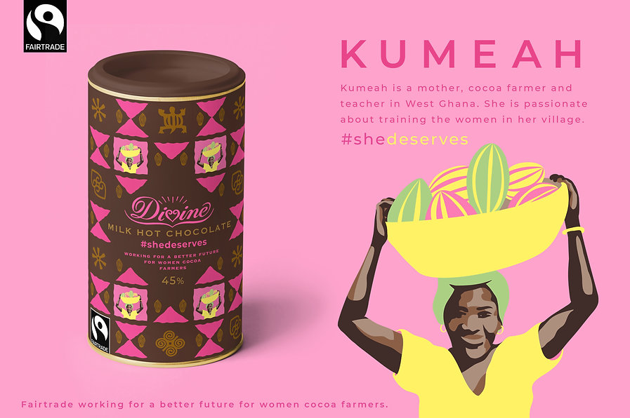 Jenny Daymond Personal Design packaging design project based on Fairtrade Campaign, She deserves, illustrated packaging design, Divine Chocolate by Jenny Daymond Design and Illustration 3