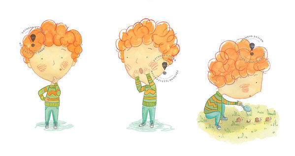 boy gardener outdoor character with ginger hair and a big head illutration, character design, boy looking for bugs, kid lit, children's book characters, Jenny Daymond Design and illustration