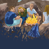 Campfire Illustration, The Lake District