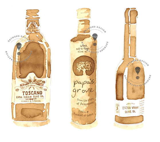 Olive Oil bottles painterly illustration in sepia coffee watercolour style, food illustration, bottles illustration, recipe book illustration, food editorial, Jenny Daymond Design and Illustration
