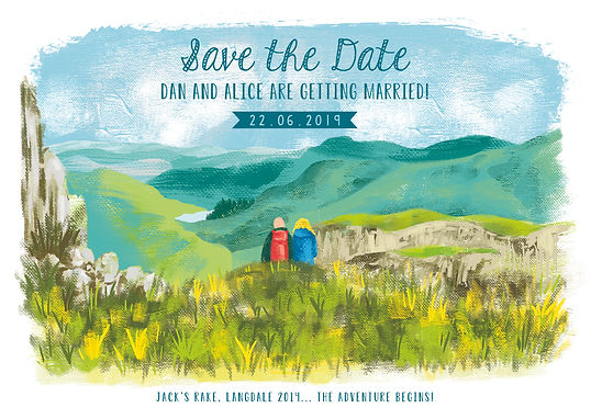 Bespoke illustrated wedding invitations and save the dates with landscae mountains lakedistrict scene and characters, Jenny Daymond Design and Illustration