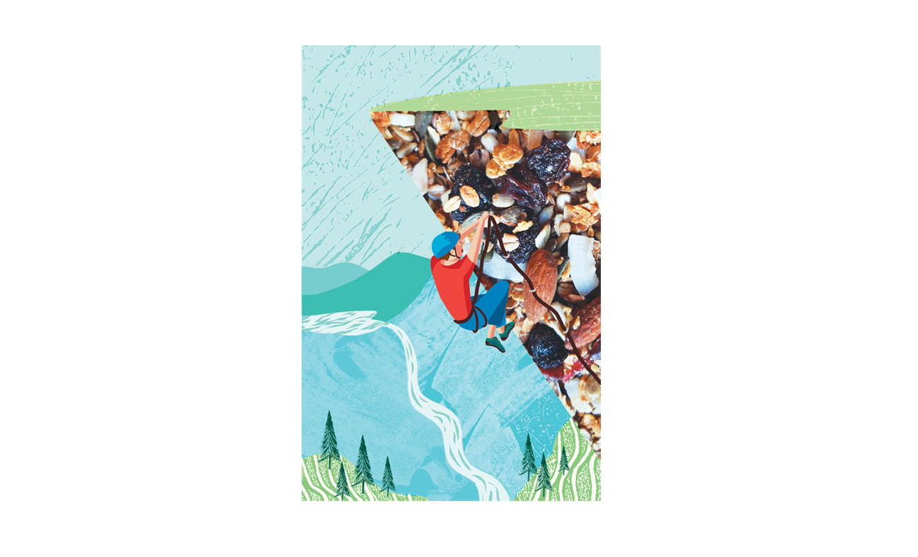 Digital illustration, climbing character, outdoors, waterfall, adventure, children's, Jenny Daymond illustration and design