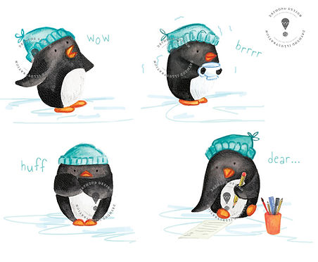 penguin character design and illustration, kid lit, children's book characters, cute penguin charater illustration, Jenny Daymond Design and illustration