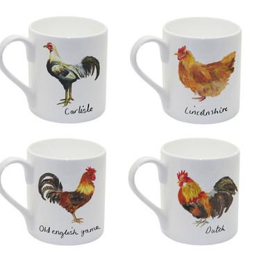 Chickens Mugs In Watercolours Homeware Design