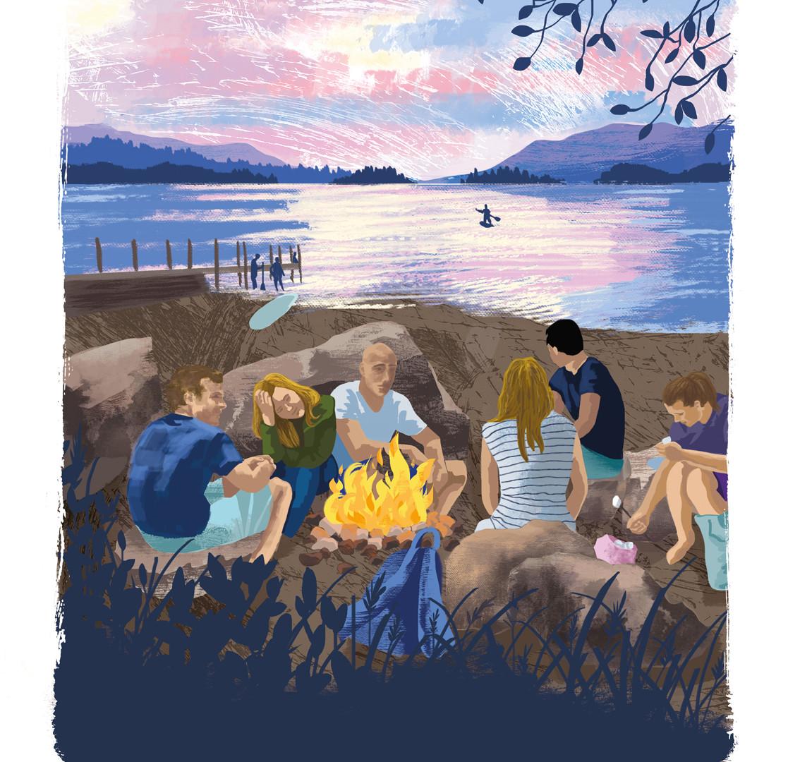 Ashness Pier Derwent Water, the Lake District National Park, digital illustration print, campire, wildcamping, summer adventures, summer sunset, Jenny Daymond Design and illustration