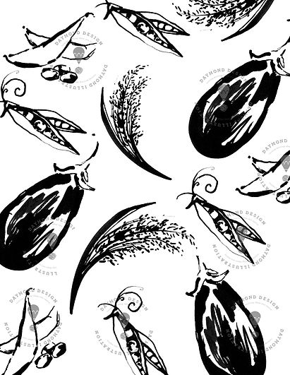 vegetables, peas, aubergines, rice and kale and seaweed B&W brush ink food illustraton for menu design, by Jenny Daymond Design and illustration