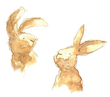 rabbits watercolor illustration, rabbits sepia illustration, coffee illustration, watercolour animal illustration, illustration to licence for giftware, Jenny Daymond Design and illustration