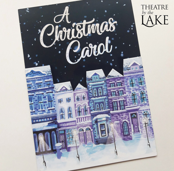 Theatre by the Lake illustrated Christmas mailer, victorian streets, Christmas street, snowy christmas street, Jenny Daymond design and illustration