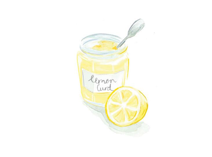 lemon curd, jam jar illustration, baking illustration, Victoria sponge,National Trust Book of Afternoon Tea, Food illustration, Watercolour and digital illustration, textures, Jenny Daymond Design and Illustration, retro