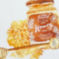 honey jar illustration, jar illutration, jam jar illustration, sepia watecolour style illustration of glass bottles, bottles on shelves illustration, sepia food illustraton, watecolour andink food illustraton, food editorial, food produce illustration, jenny Daymond Design and illustration 2