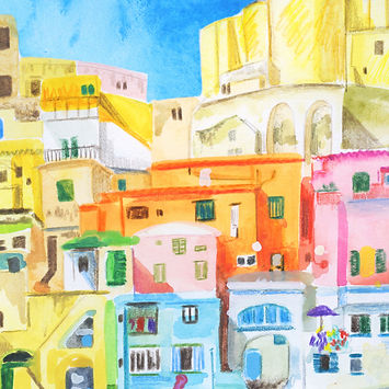 watercolour ad pencil crayon colorful modern watercolour illustraton of Amalfi Coast Naples, Prints available, colourful watercolour buildings travel illustration italy, travel sketchbook buildings, Jenny Daymond Design and illustration