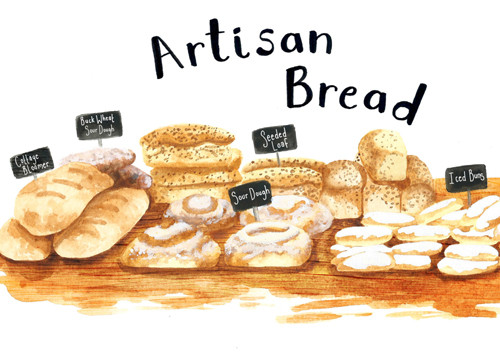 Artisan Bread Sepia Food Illustration