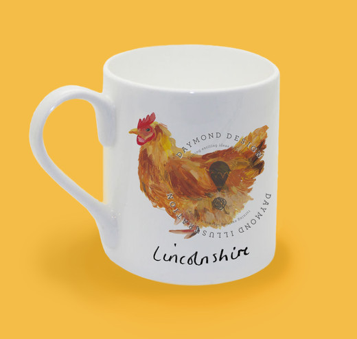 lincolnshire hen chicken, heritage hen illustration for homeware and giftware by Jenny Daymond Design and illustration
