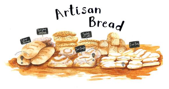 Artisan Bread food illustration, food editorial, recipe illustration in Sepia Watercolour style, Jenny Daymond Design and Illustration