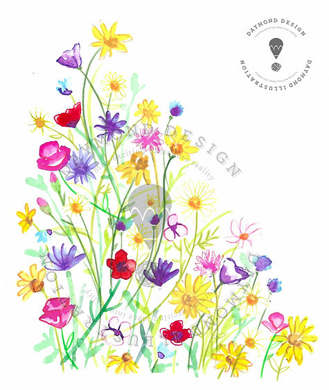 Watercolour and pencil crayon hand painted wildlfower meadow design for homware and giftware, Jenny Daymond Desgn and illustration