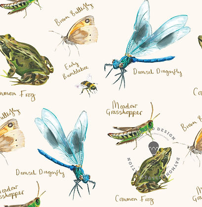 bugs patten tile, little explorers natural history inspired repeat pattern design with watercolour bugs and insects and butterflies and dragonflies, for homewear or giftware, Jenny Daymond Design and illustration 2