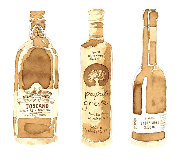 sepia watecolour style illustration of glass bottles, bottles on shelves illustration, sepia food illustraton, watecolour andink food illustraton, food editorial, food produce illustration, jenny Daymond Design and illustration,