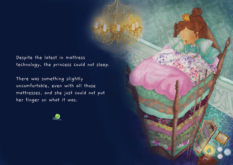 Princess and the Pea fairy tale illustration and princess characte, Princess and the Pea bed illustraton, Princess andth pea story by Jenny Daymond Design and Illustration