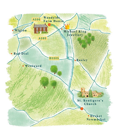 illustrated map for wedding invitations, bespoke illustrated wedding invites, Jenny Daymond Design and Illustration
