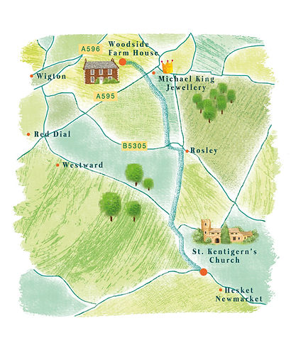 illustrated map for wedding invites, cute map, Jenny Daymond Desig and illustration
