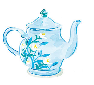 watercolour tea pot illustration, illustration, illustrated recipe for the National Trust from the National Trust book of afternoon tea by Jenny Daymond Design and Illustration