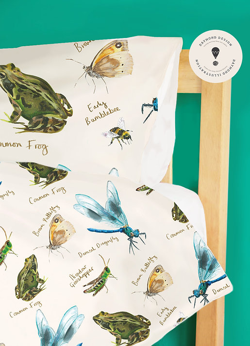 little explorers natural history inspired repeat pattern design with watercolour bugs and insects and butterflies and dragonflies, for homewear or giftware, Jenny Daymond Design and illustration.