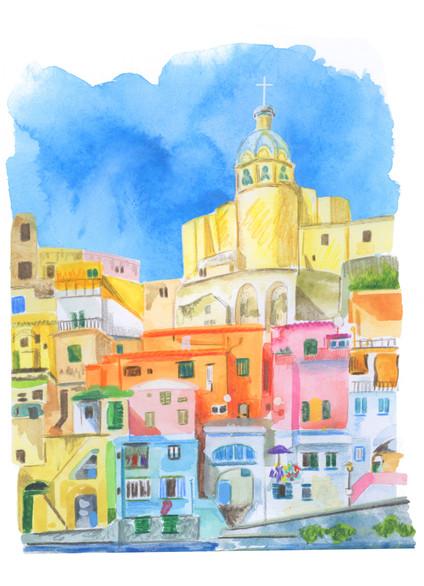 Naples, Amalfi coast, watercolour illustration, Amalfi print, Amalfi illustration, Jenny Daymond design and illustraiton