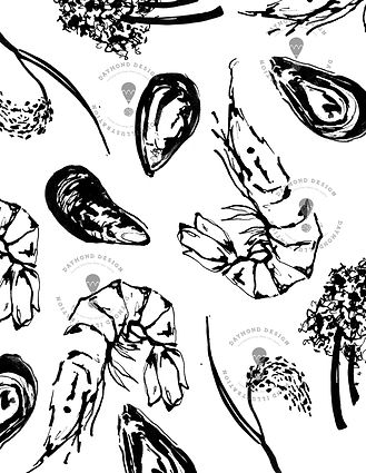 bold brush ink food illustrations of fish and fruit and vegetables, bold brus ink illustration for menu design, Jenny Daymond Design and illustration