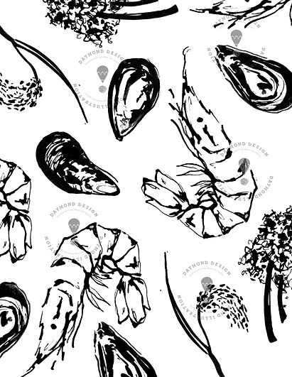 prawns, mussels, vegetables, peas, aubergines, rice and kale and seaweed B&W brush ink food illustraton for menu design, by Jenny Daymond Design and illustration
