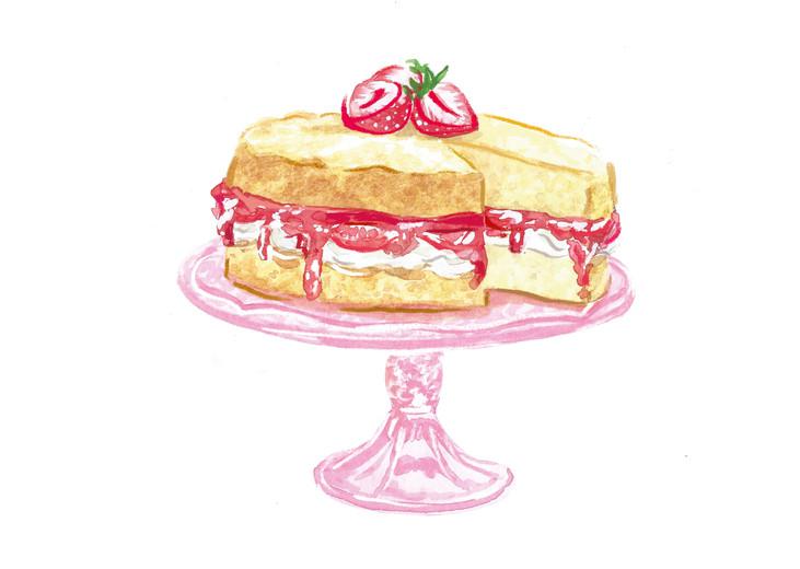 Victoria sponge,National Trust Book of Afternoon Tea, Food illustration, Watercolour and digital illustration, textures, Jenny Daymond Design and Illustration, retro