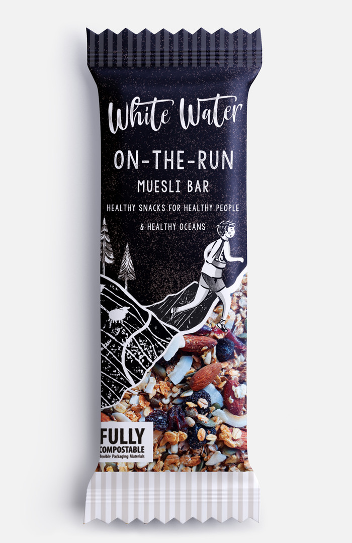 Muesli bar eco friendly, fully compostable packaging design, Jenny Daymond Design and illustration, luxury packaging