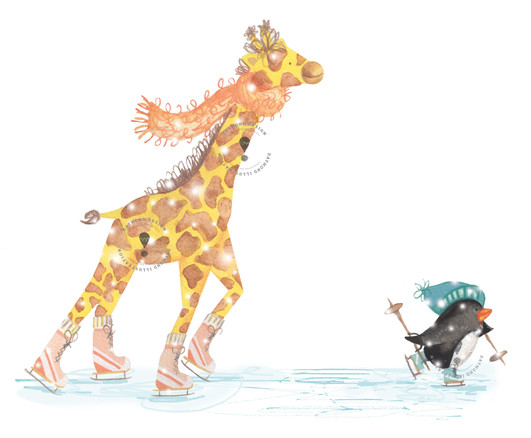 giraffe and penguin characters ice-skating, anaimal character illustration and design, watercolour children's book characters by Jenny Daymond Design and illustration