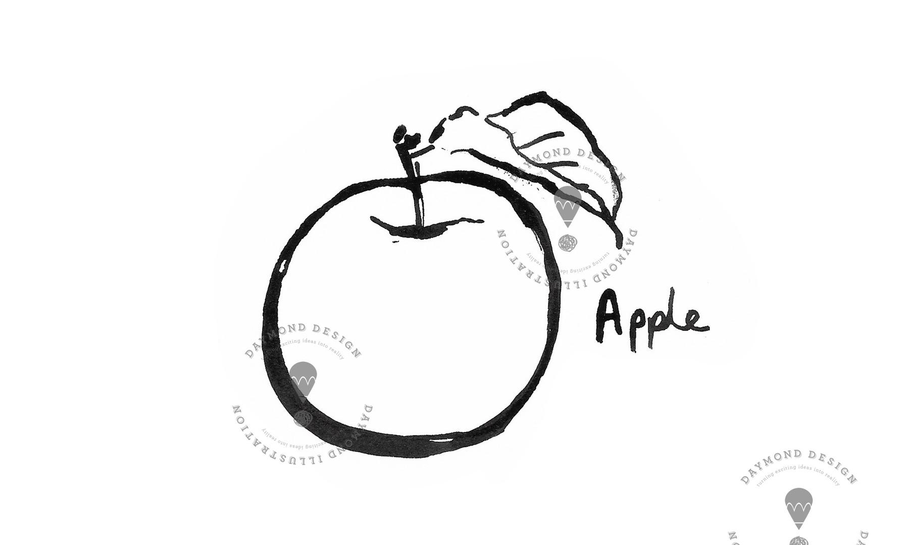 apple fruit brush ink B&W food illustration by Jenny Daymond Design and illustration