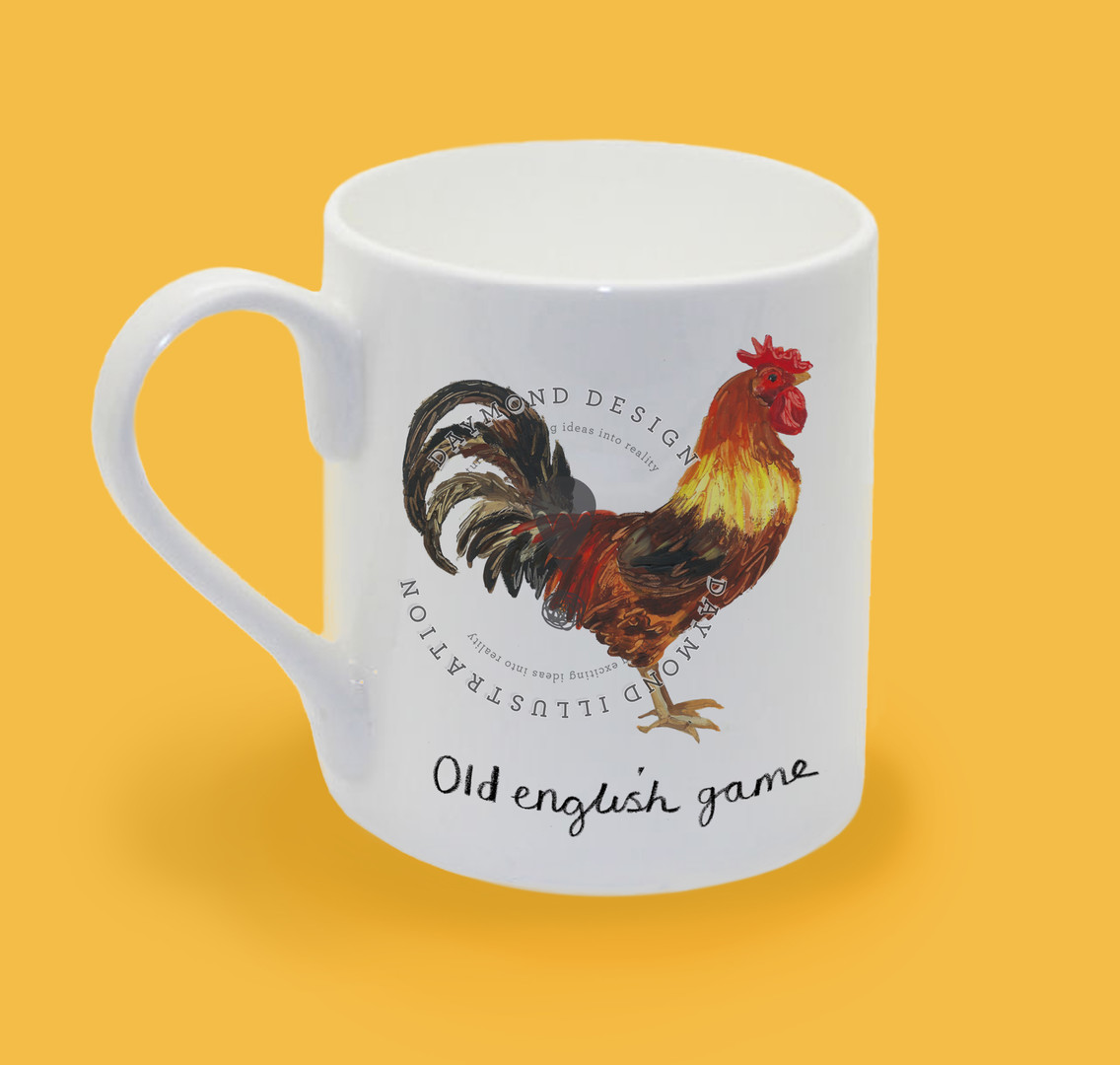 old english game hen chicken, hen chicken, heritage hen illustration for homeware and giftware by Jenny Daymond Design and illustration