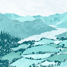 illustrated branding and web banner design, illustraton and design, digital textures illustration of mountains and lakes, wanderlust illustration, mountains illustraton, outdoor persuits illustration, modern print makin style, print making illustration style, Lake District branding, artisan lake district branding, Jenny Daymond Design and illustraton