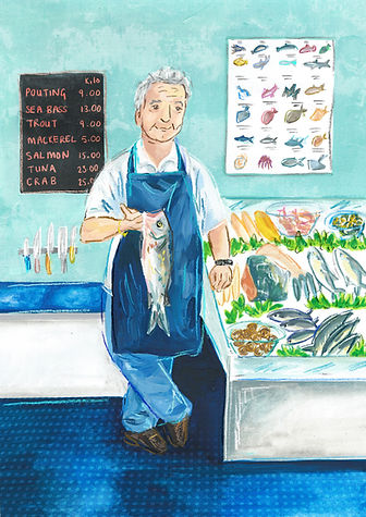 Fishmongers and fishmoger deli and potrait in watercolour and chalky digital line illustration, watecolour and pencil crayon modern food illustration, fishmongers and seafood food editorial, local shop keepers food illustrtion, portrait illustration, Jenny Daymond Design and illustration