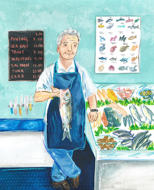 Fishmonger portrait, food illustration, food editorial, watercolour and chalky line illustraton with digital print making textures combined in photoshop, shop keepers illustration, Jenny Daymond Design and illustration 3