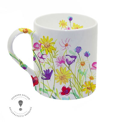 wildfower meadow mug, Watercolour and pencil crayon hand painted wildlfower meadow design for homware and giftware, Jenny Daymond Design and illustration