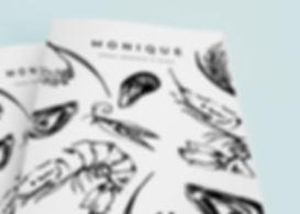 Sea food menu design and illustration, illustrative branding, bold brush ink food illustrations of fish and fruit and vegetables, bold brus ink illustration for menu design, Jenny Daymond Design and illustration
