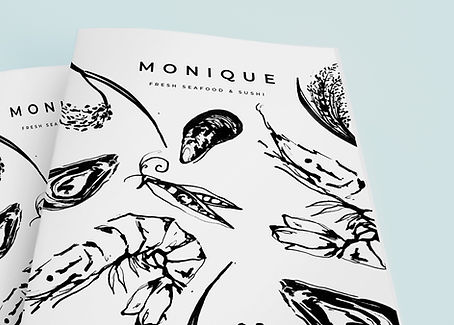Sea food menu design and illustration, illustrative branding, bold brush ink food illustrations of fish and fruit and vegetables, bold brus ink illustration for menu design, Jenny Daymond Design and illustration
