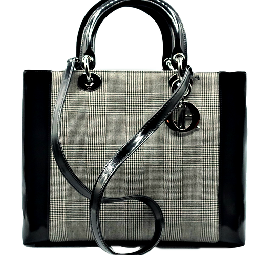 Lady Dior Canvas & Patent Leather Handbag